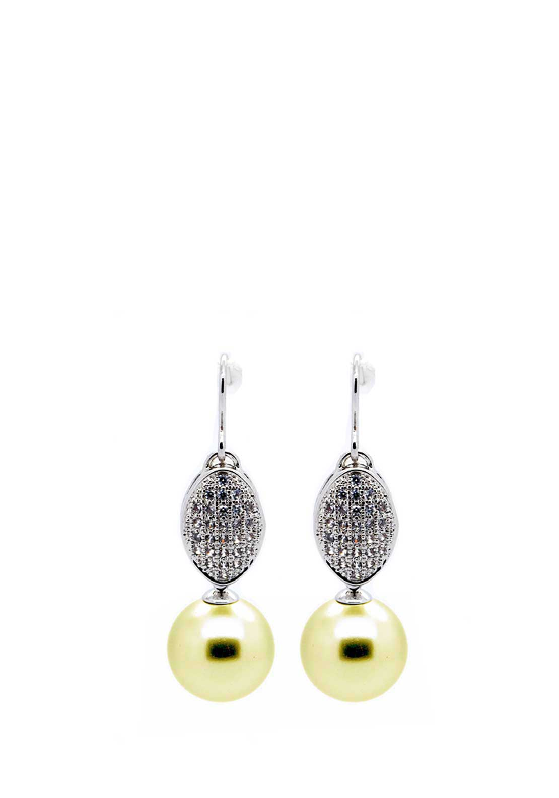 Absolute Jewellery Pave Set Natural Pearl Drop Earrings, Natural