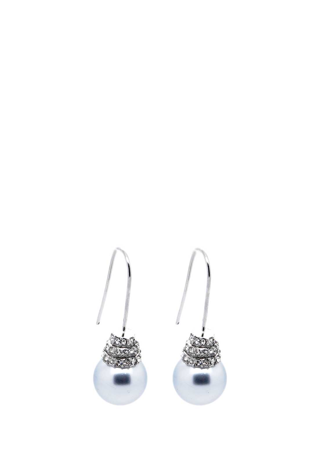 Absolute Jewellery Pearl and Crystal Hook Earrings, Grey