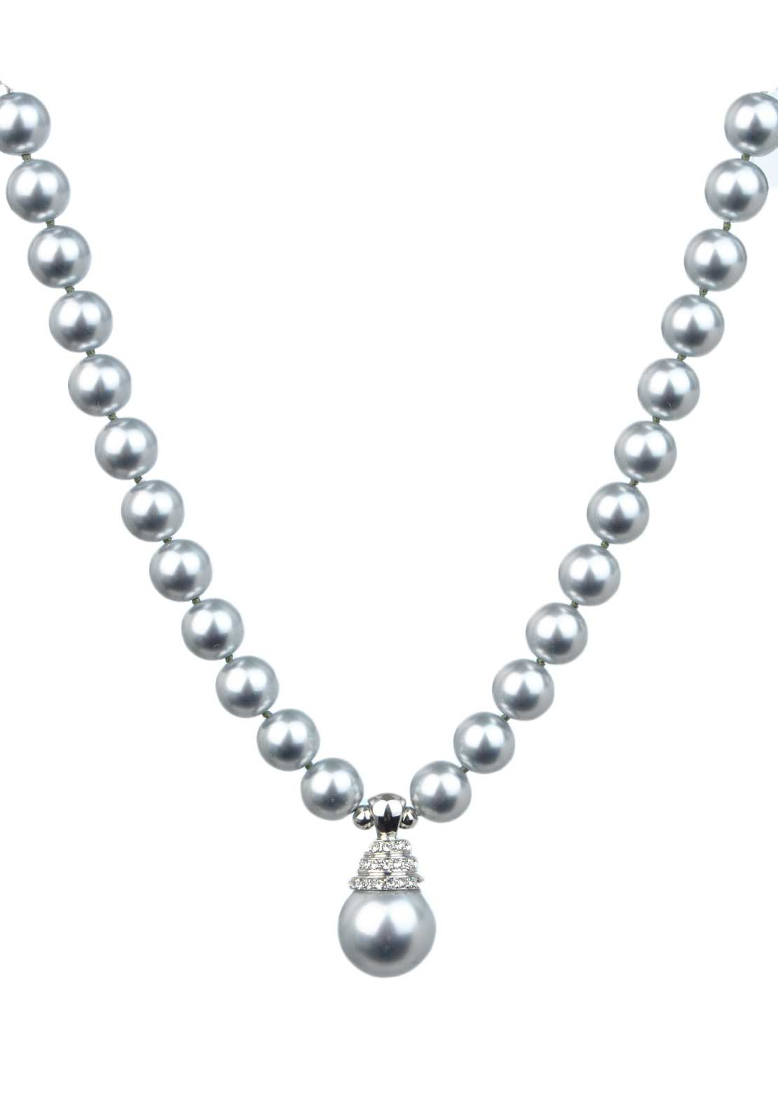 Absolute Jewellery Pearl Necklace with Crystal Set Pearl Drop, Grey