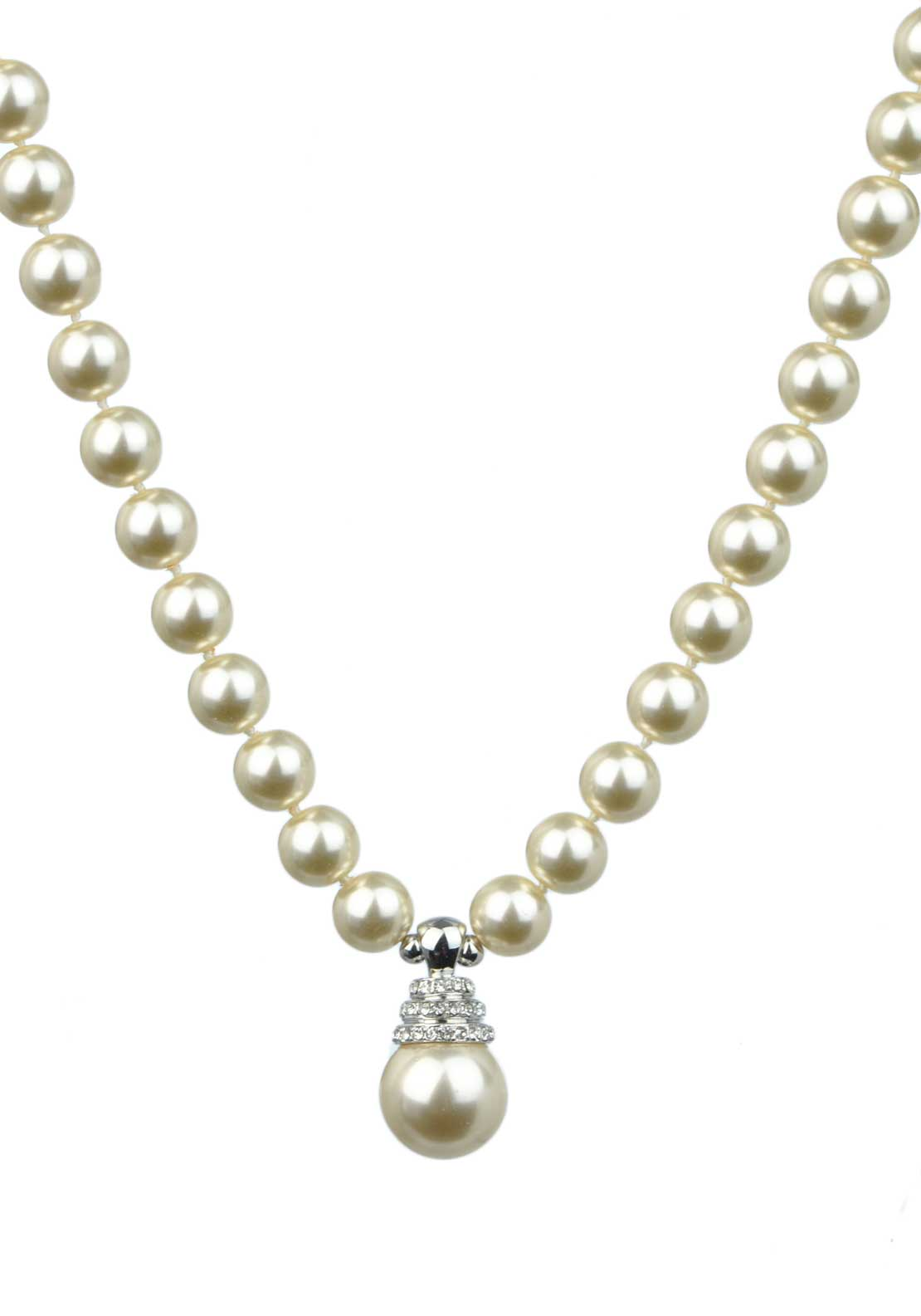 Absolute Jewellery Pearl Necklace with Crystal Set Pearl Drop, Pearl