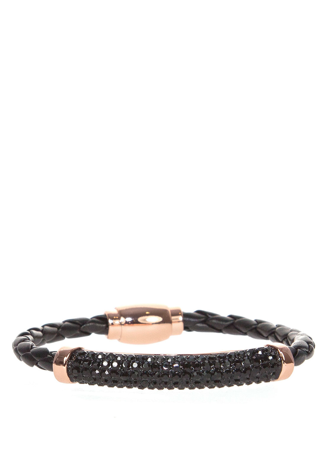 Absolute Black Crystal Embellished Plaited Bracelet, Rose Gold