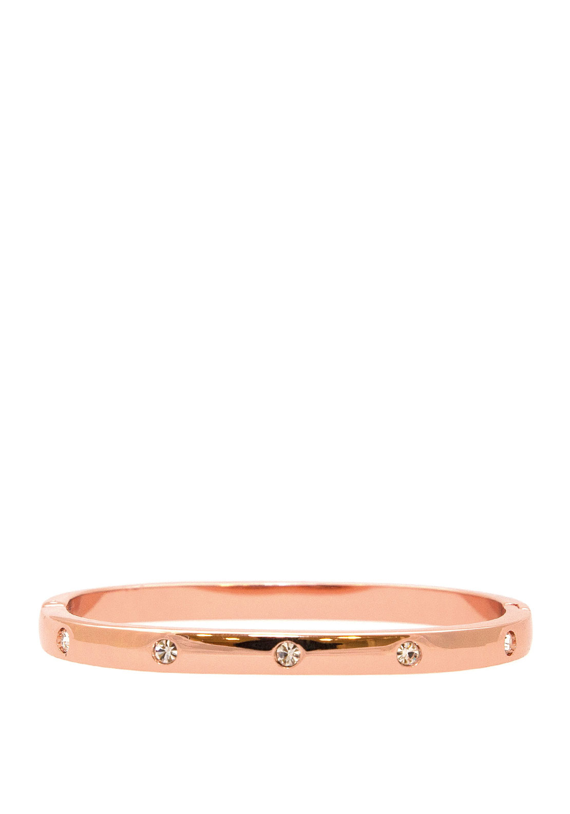 Absolute Square Clear Stone Set Bangle, Rose Gold