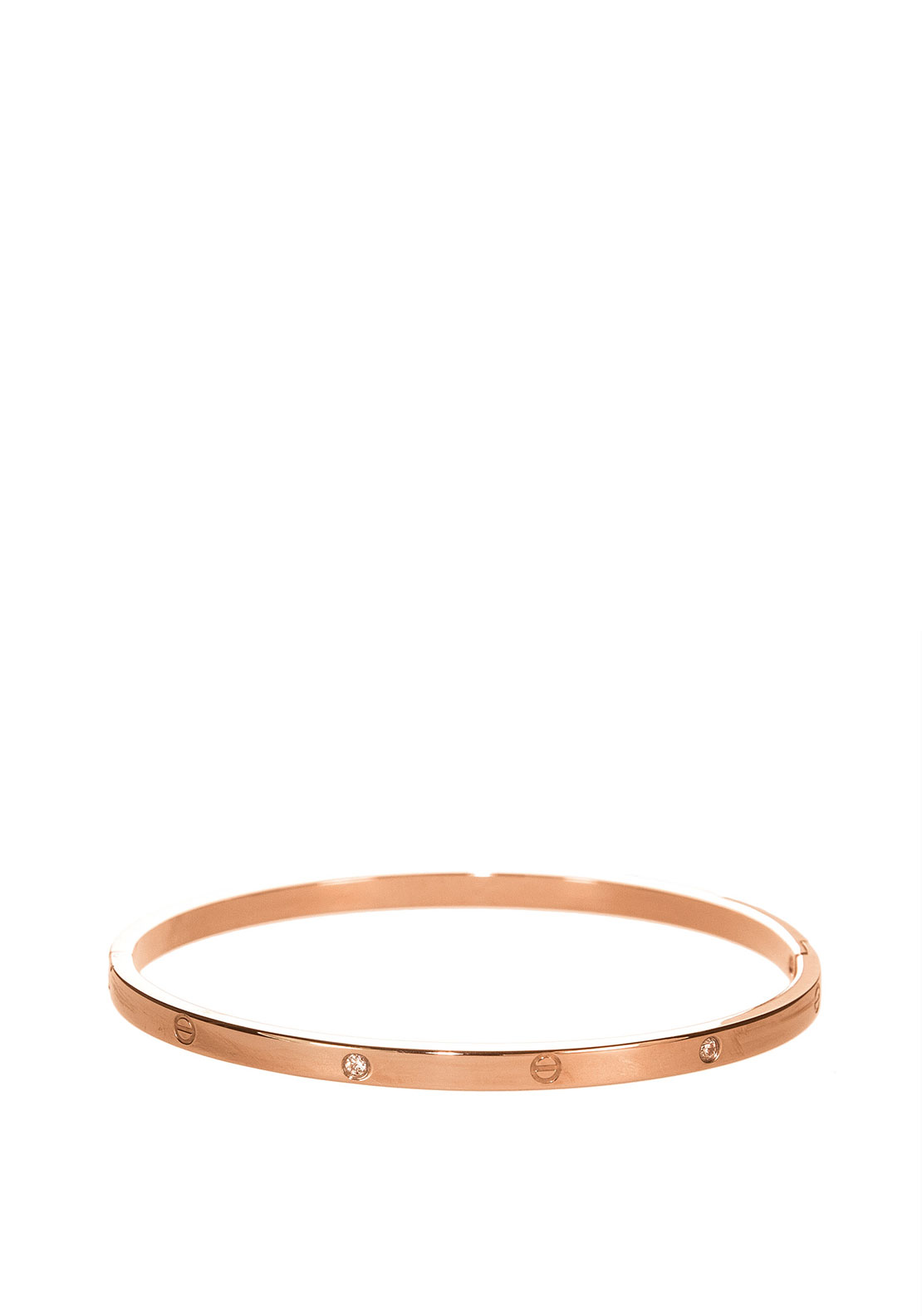 Absolute Clear Stone Set Bangle, Rose Gold
