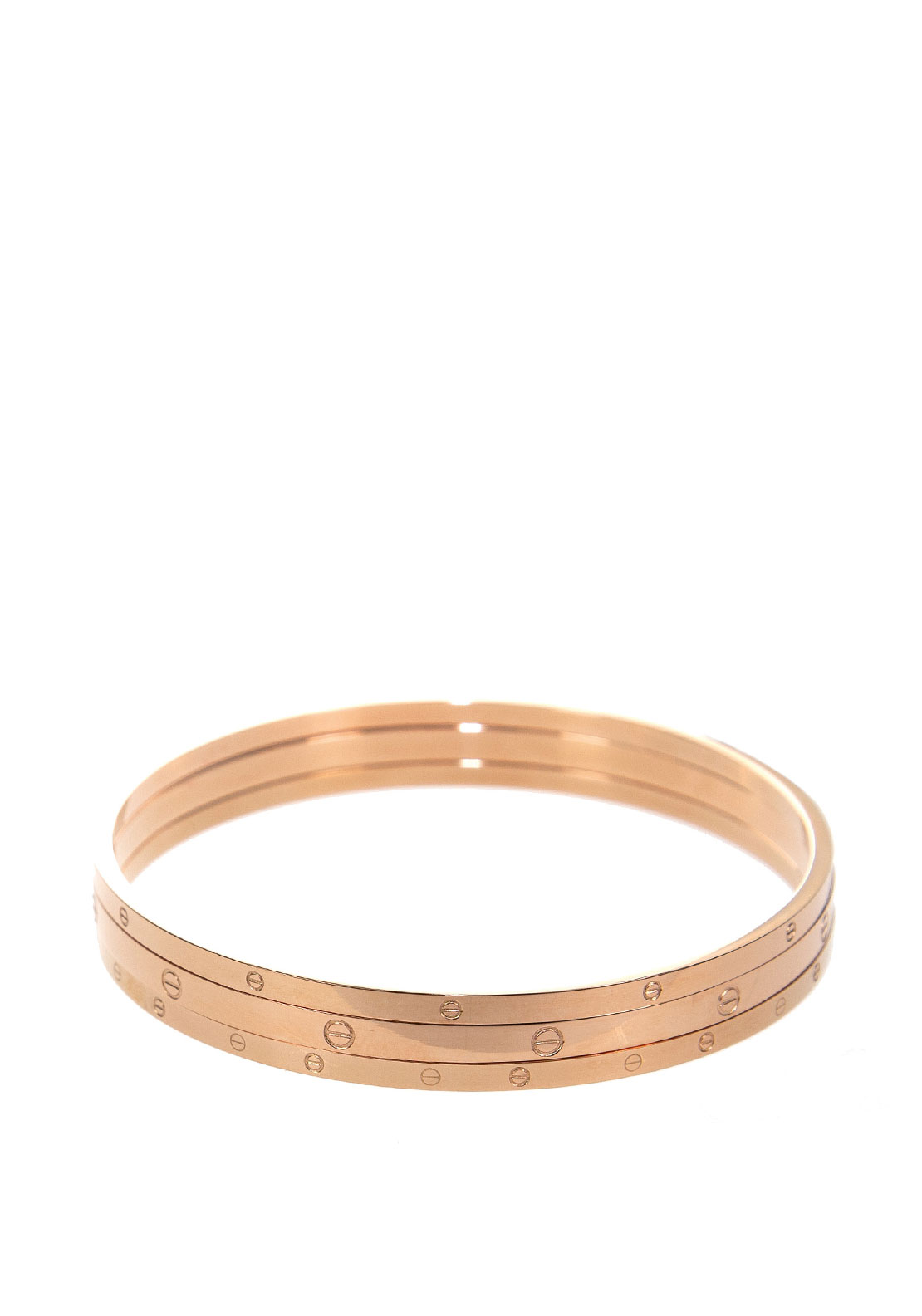 Absolute Plain Tripe Layered Bangles, Rose Gold