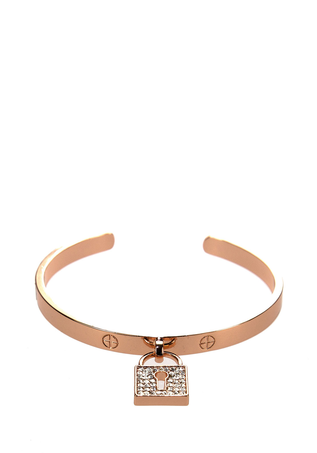 Absolute Locket Charm Open Bangle, Rose Gold