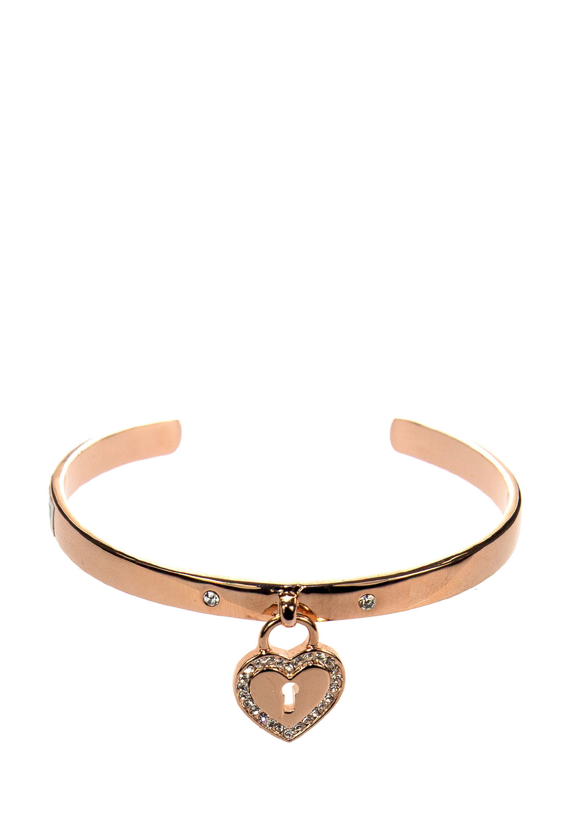Absolute Heart Locket Charm Open Bangle, Rose Gold