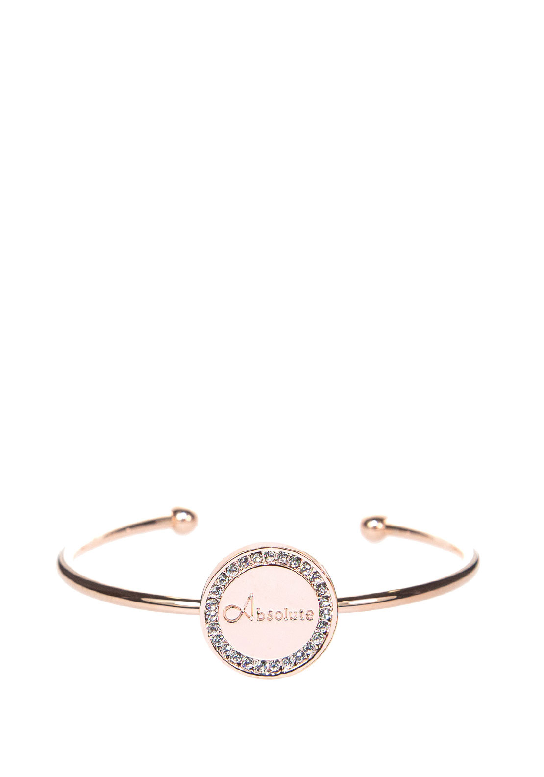 Absolute Crystal Embellished Coin Open Bangle, Rose Gold