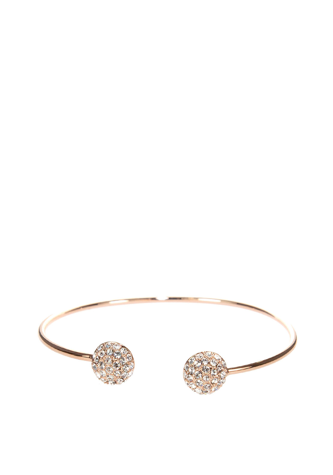 Absolute Crystal Pave Open Bangle , Rose Gold