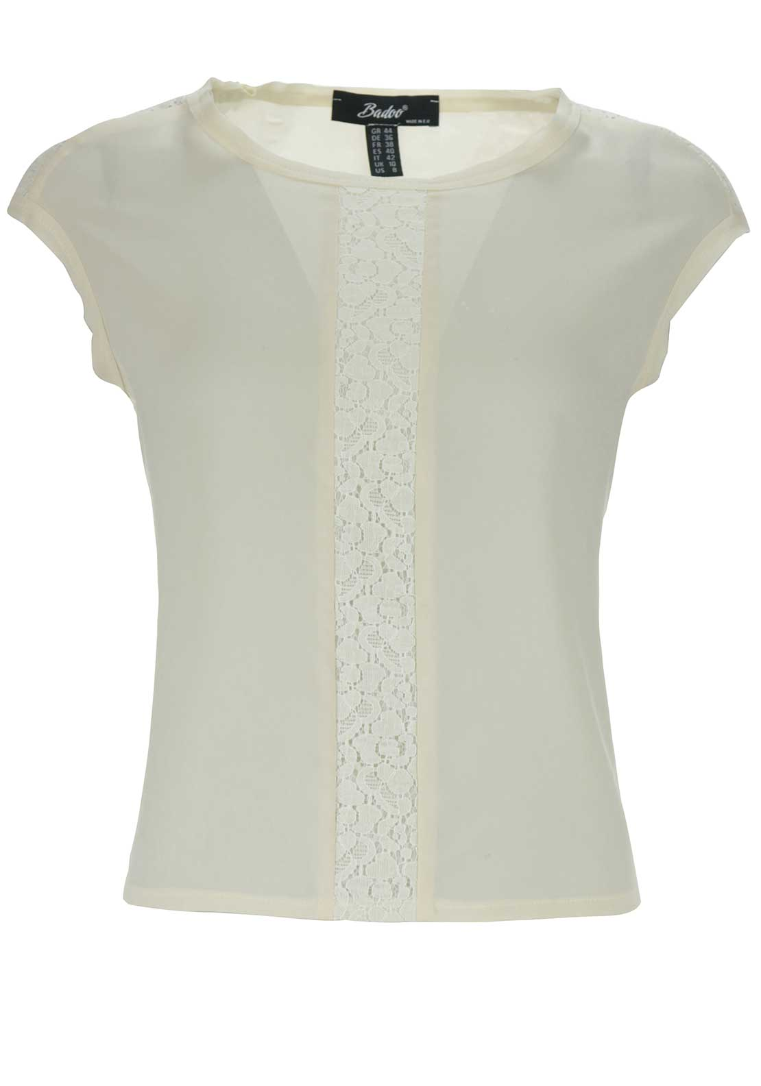 Badoo Lace Trim Cap Sleeve Top, Cream