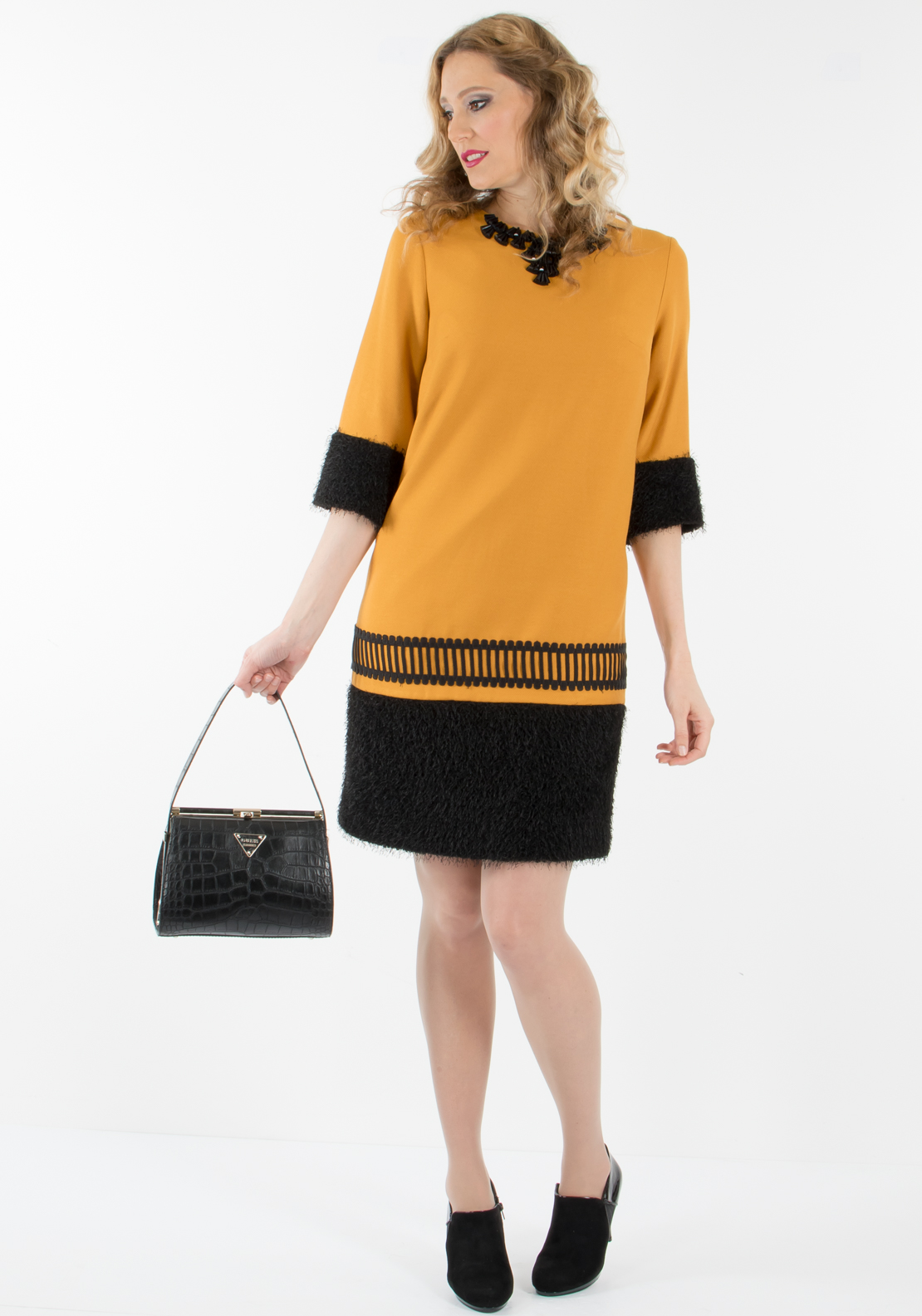Badoo Textured Trim Cropped Sleeve Shift Dress, Mustard and Black