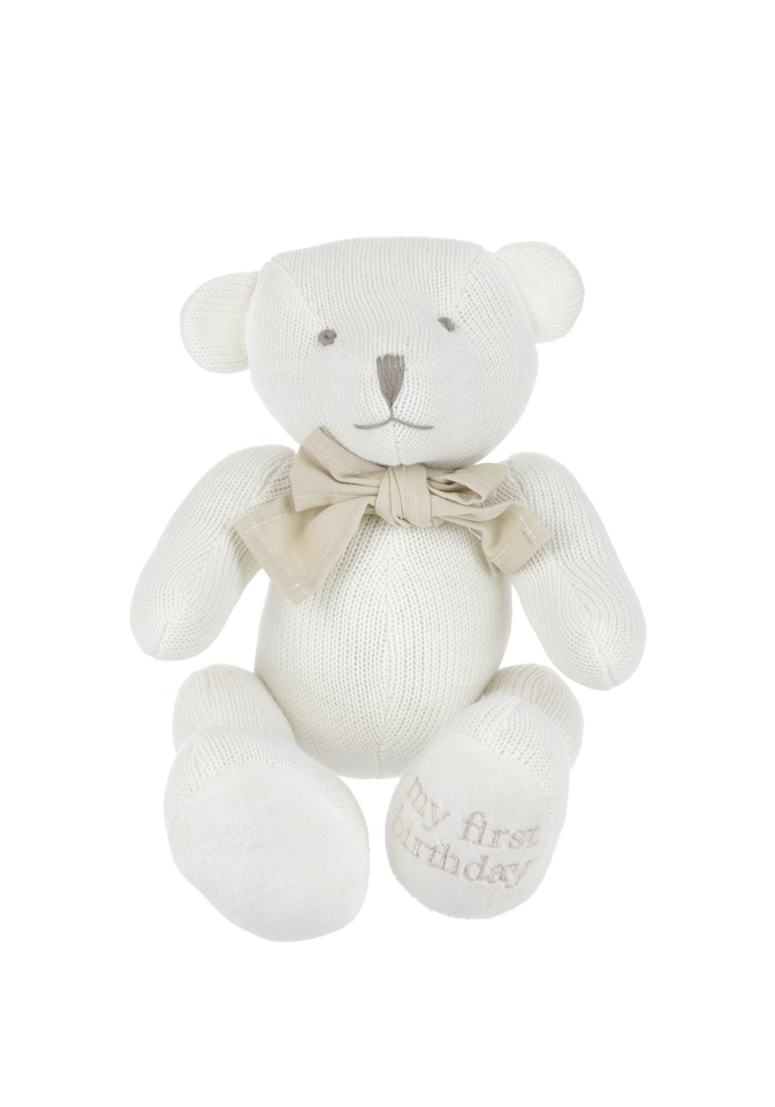 Juliana Bambino Knitted Cotton Bear, White