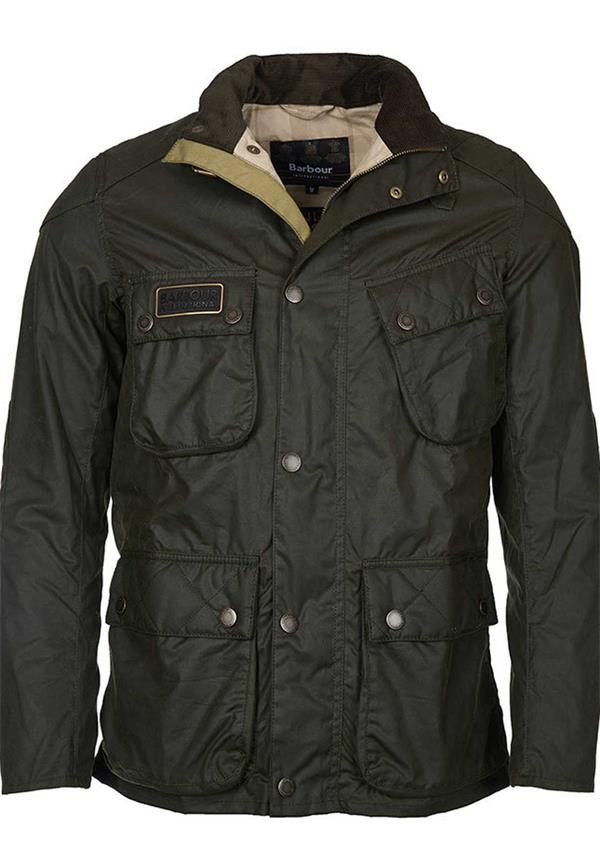 BARBOUR INTERNATIONAL MENS RACEWAY WAX JACKET, OLIVE