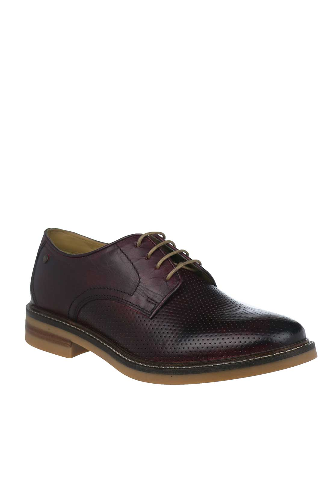 Base London Stanford Washed Leather Shoes, Bordeaux