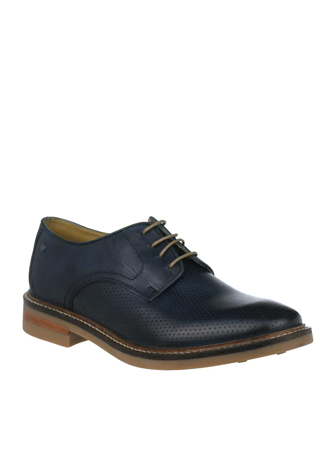 Base London Stanford Washed Leather Shoes, Navy