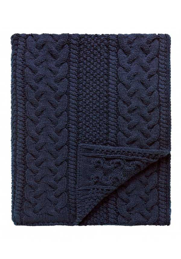 Peacock Blue Stanley Throw, Navy