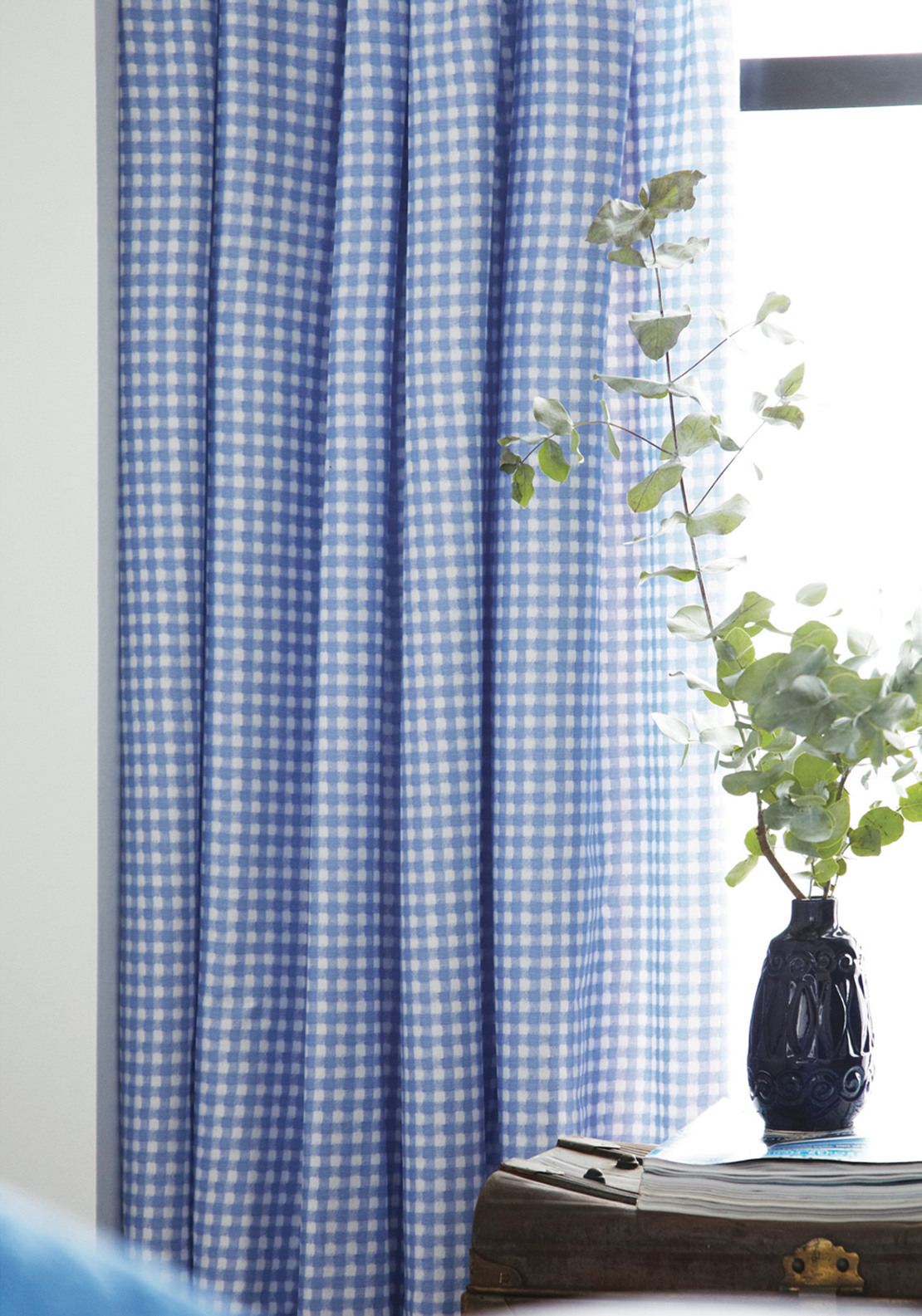 V&A Ikat Gingham Curtains, 66 x 72