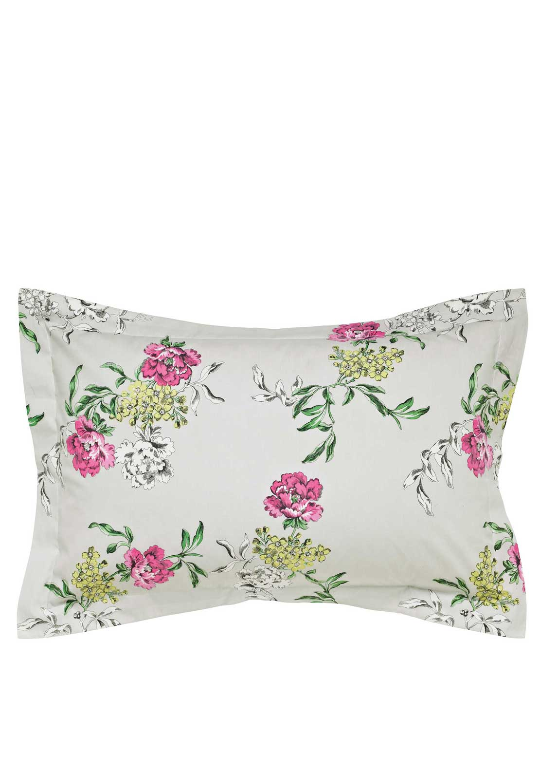 Joules Dream on Buckingham Floral Oxford Pillowcase 100% Cotton Percale, Crème with Multi Floral Pri