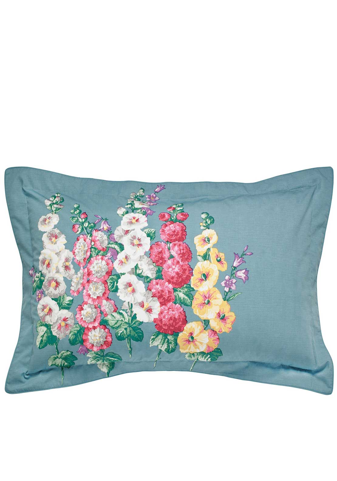 Sanderson Hollyhocks Oxford Pillowcase, Blue with Multi Floral Print