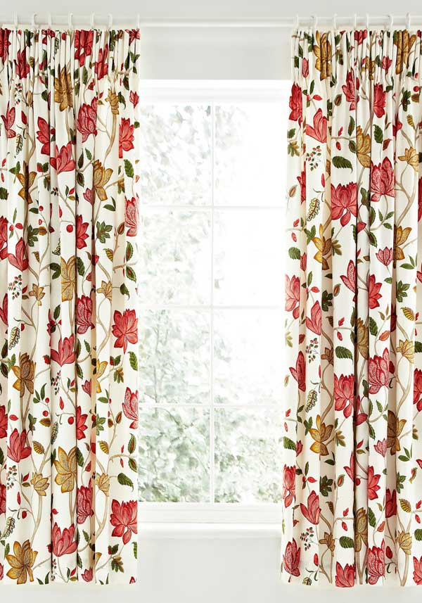 "Sanderson Options Pondicherry Lined Curtains 66 x 72"", Red"