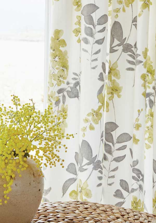 "Sanderson Home Wisteria Blossom Lined Curtains 66 x 72"", Green"