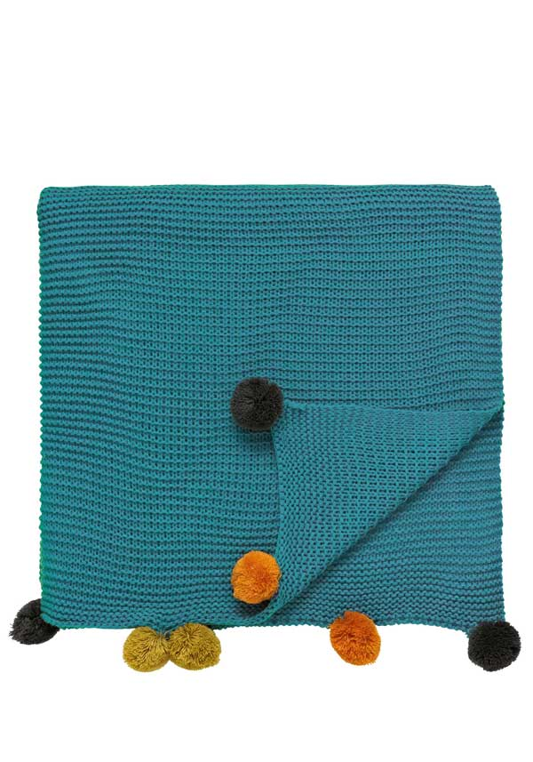 Scion Taimi Pom-Pom Throw, Teal