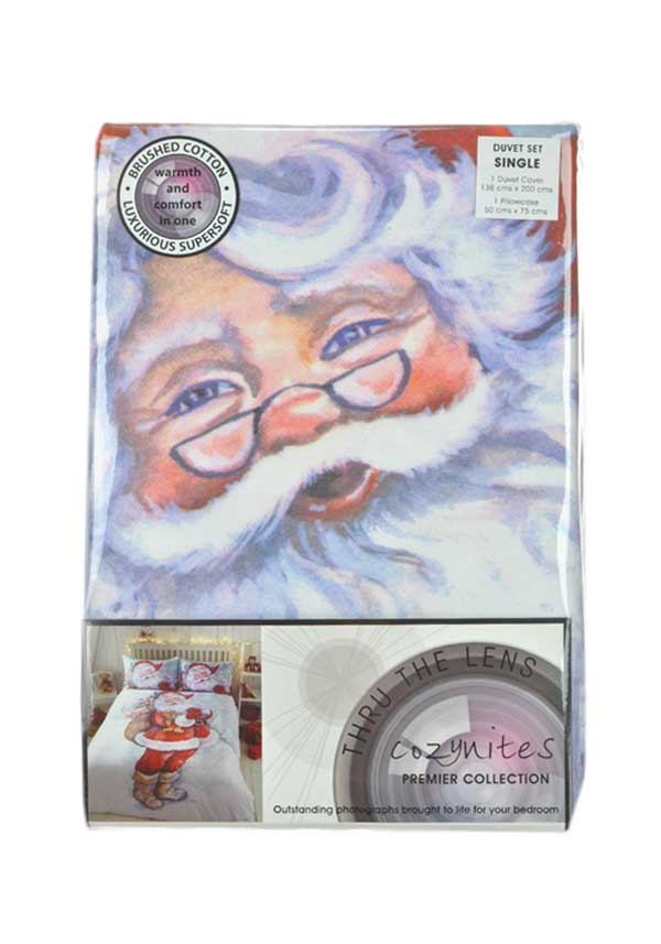 Thru the Lense Father Christmas Bedding Brushed Cotton Duvet Set, Single