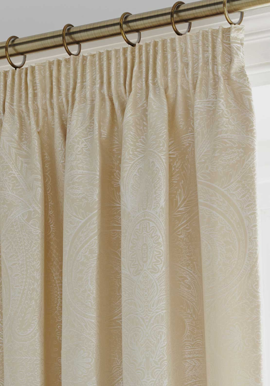 Country Classics Linden Luxury Woven Jacquard One Pair Pencil Pleat Lined Curtains 66x72, Gold