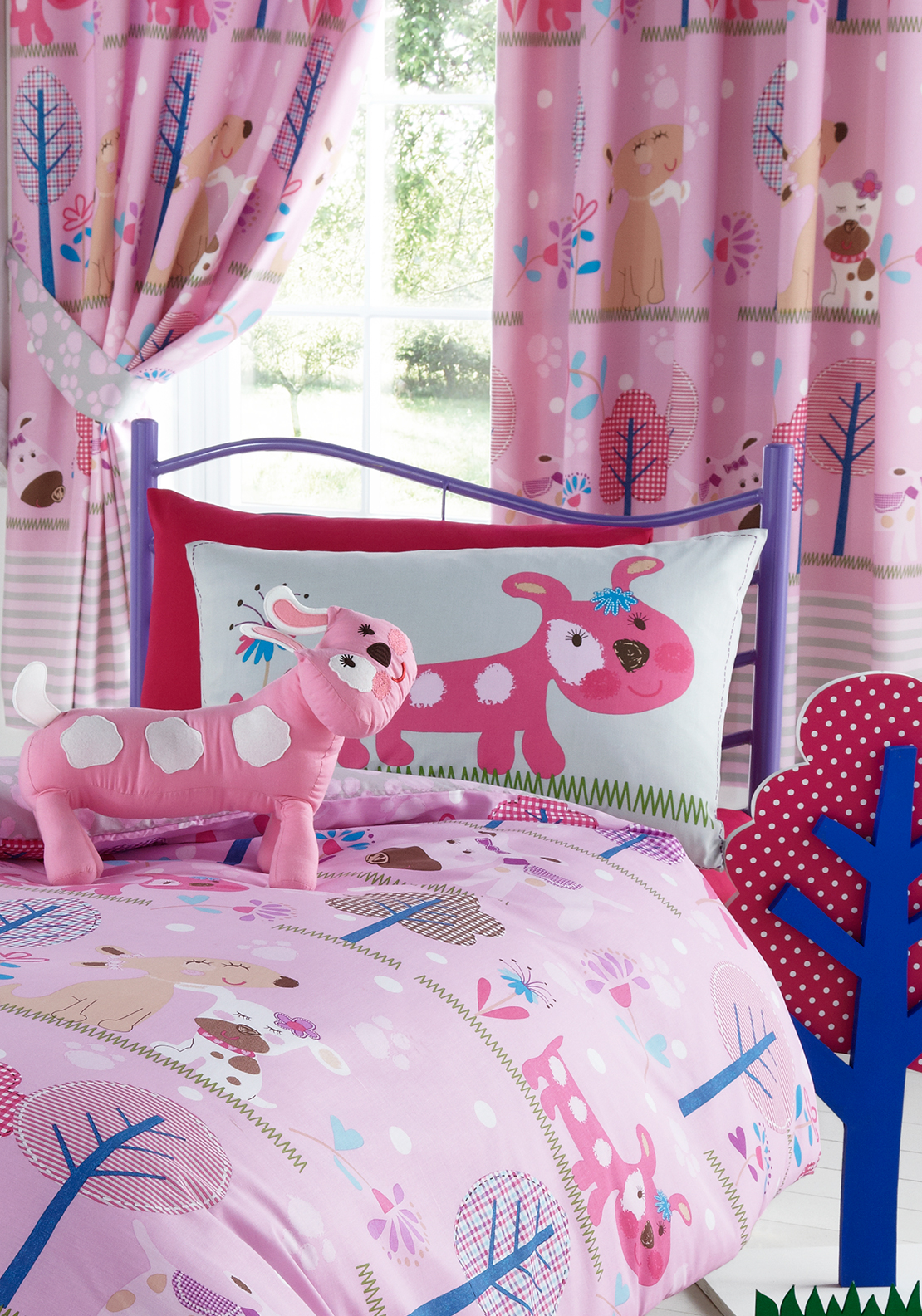 Kids' Club Pooch Curtains 66X72in, Pink