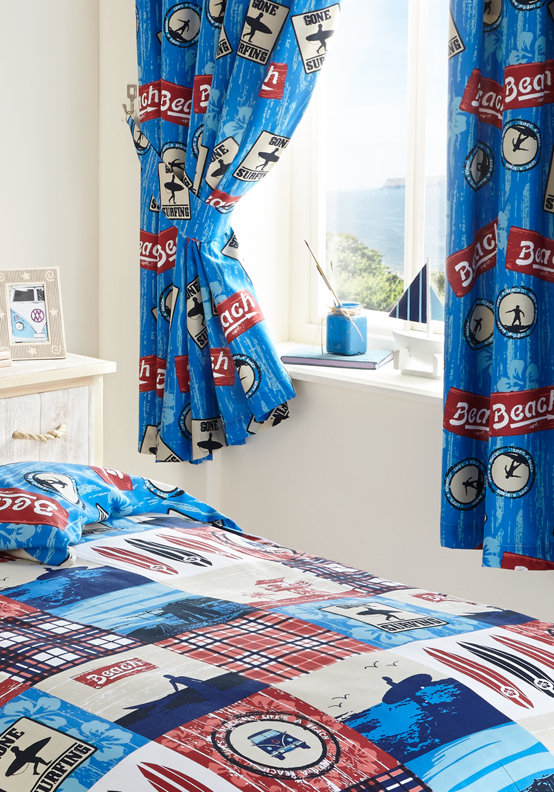 Kids' Club Surf's Up Curtains 66x72in, Blue Multi
