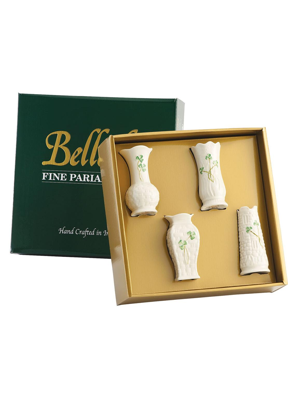 Belleek Shamrock Mini Vase Ornaments, Set of 4