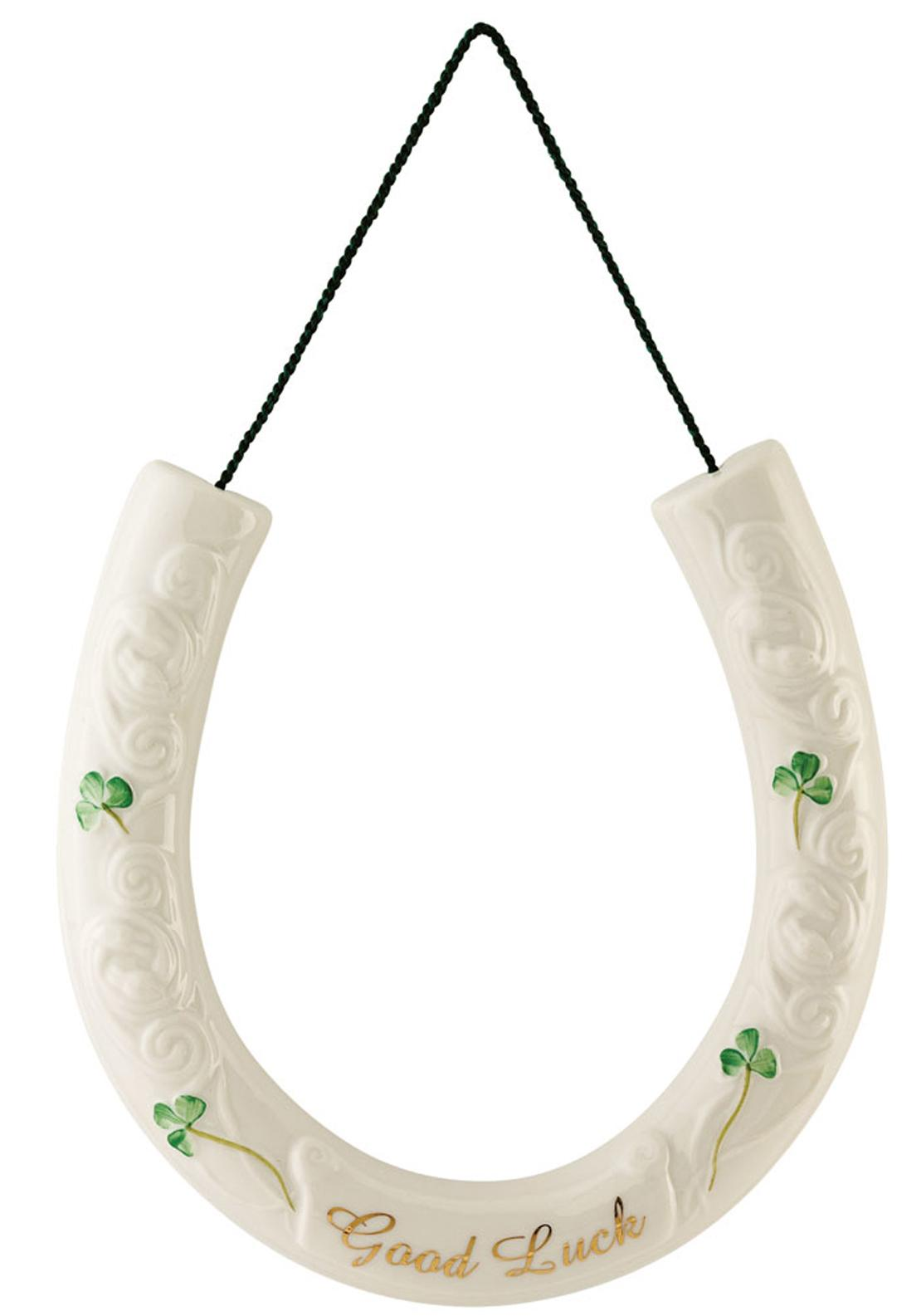 Belleek Good Luck Horseshoe