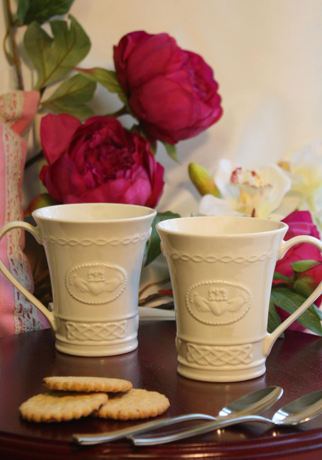 Belleek Claddagh Mugs, Set of Two