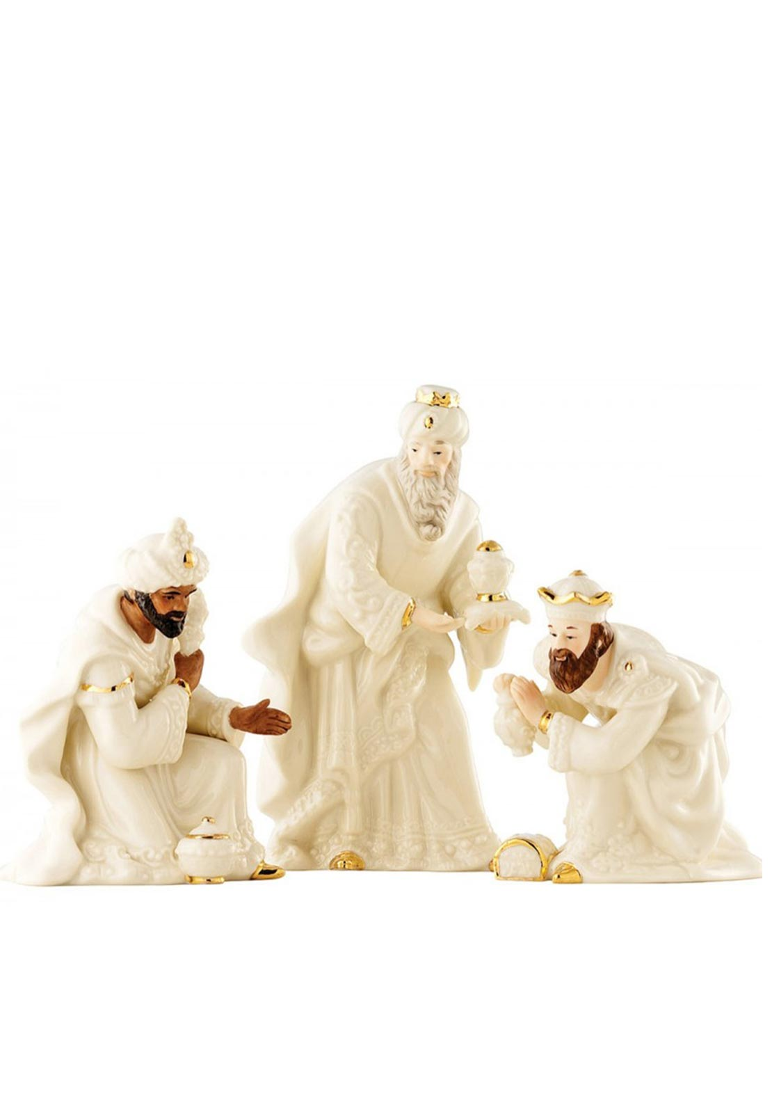 Belleek Christmas Three Kings Men Ornament Set
