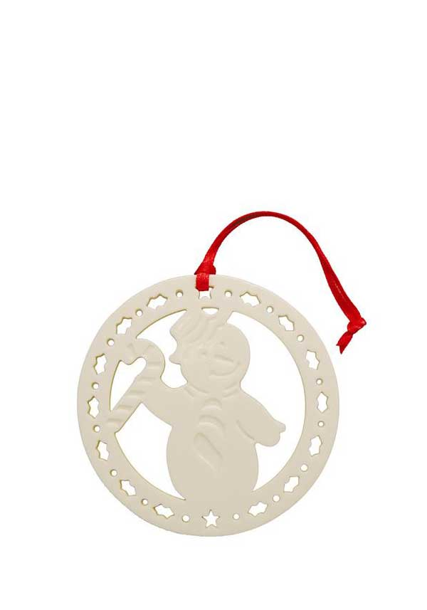 Belleek Living Christmas Candy Cane Snowman Ornament