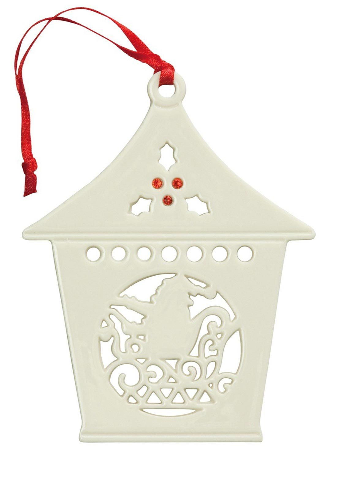 Belleek Living Christmas Hanging Santa Lantern Ornament