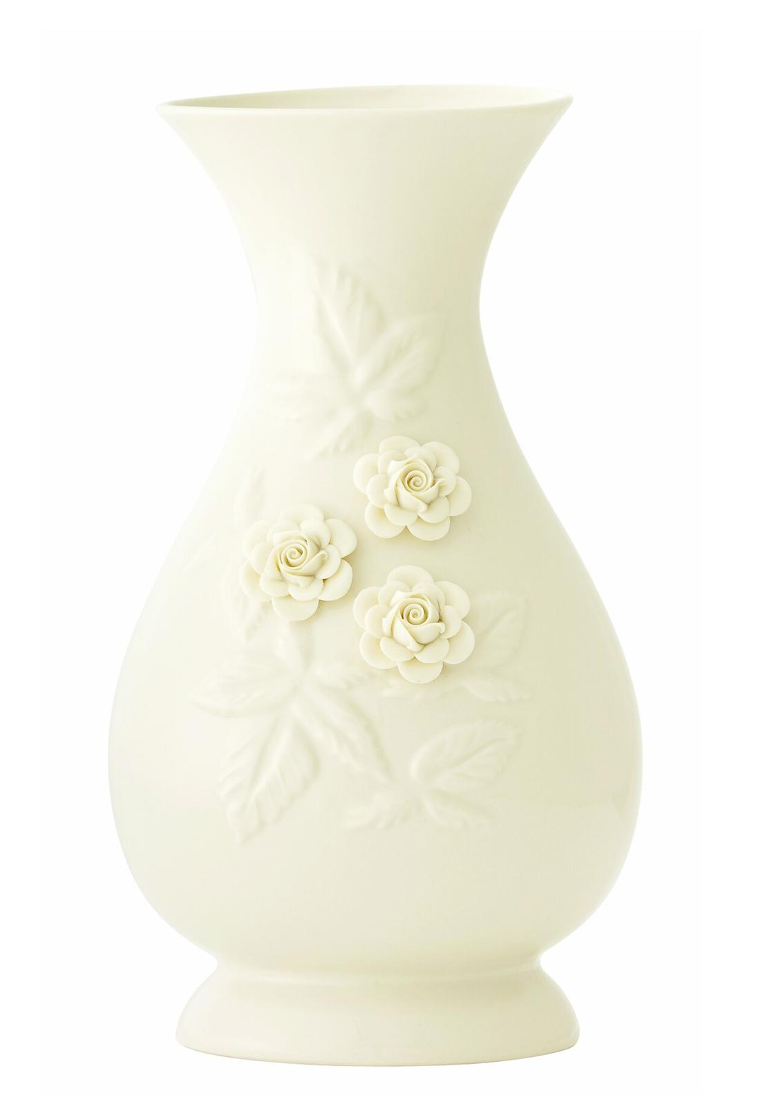 Belleek Rose Vase Ornament, 11in
