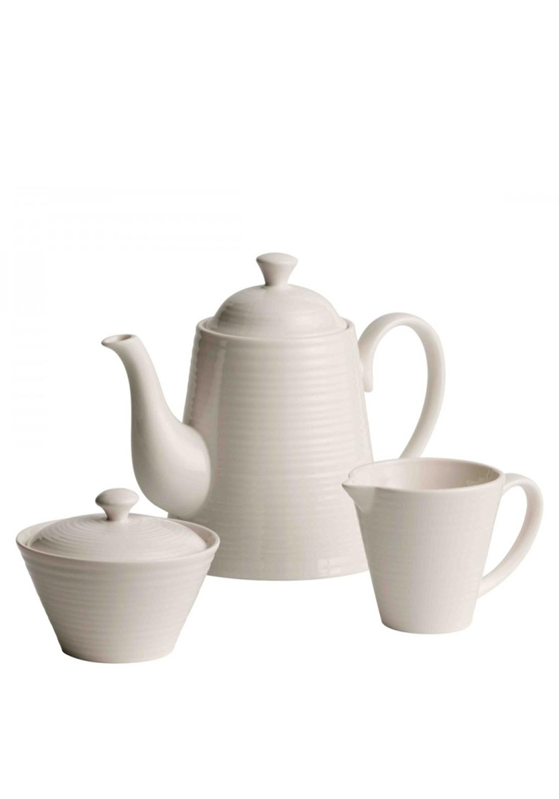 Belleek Living Ripple Teapot Set, Ivory