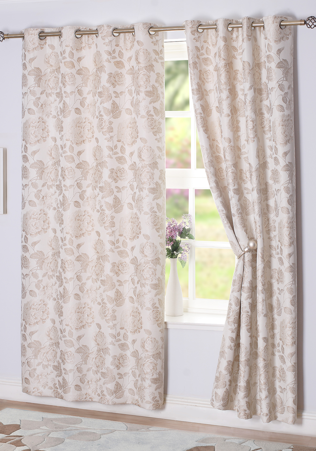 E.A. Delaney Belleville Eyelet Curtains, Natural Beige