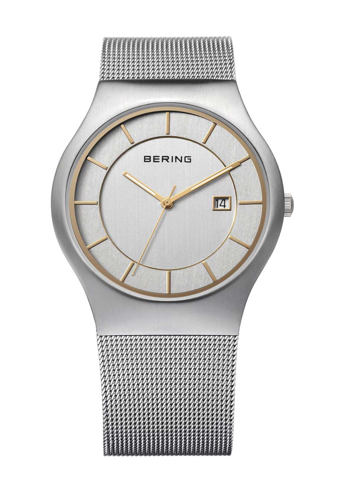 Bering Mens Milanese Watch, Silver