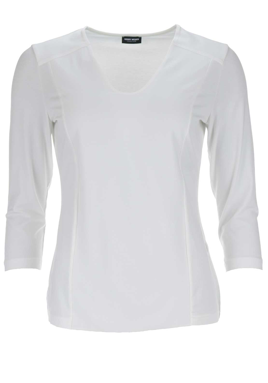 Gerry Weber V-Neck Cropped Sleeve Top, White