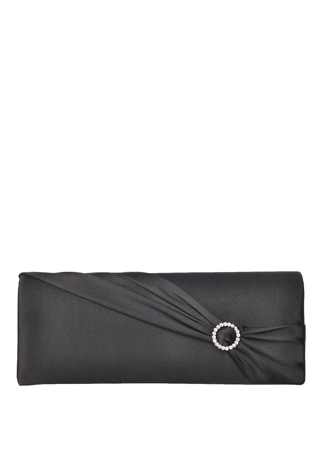Barino Ruched Satin Clutch Bag, Black