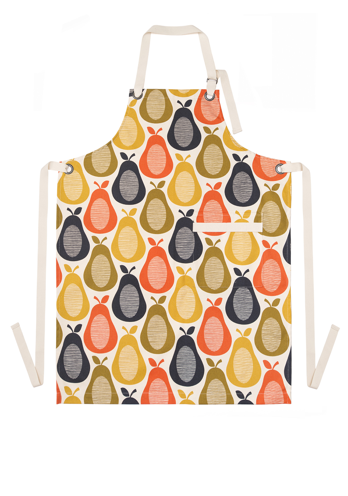 Orla Kiely Apron with Pear Print Design, Cream Multi