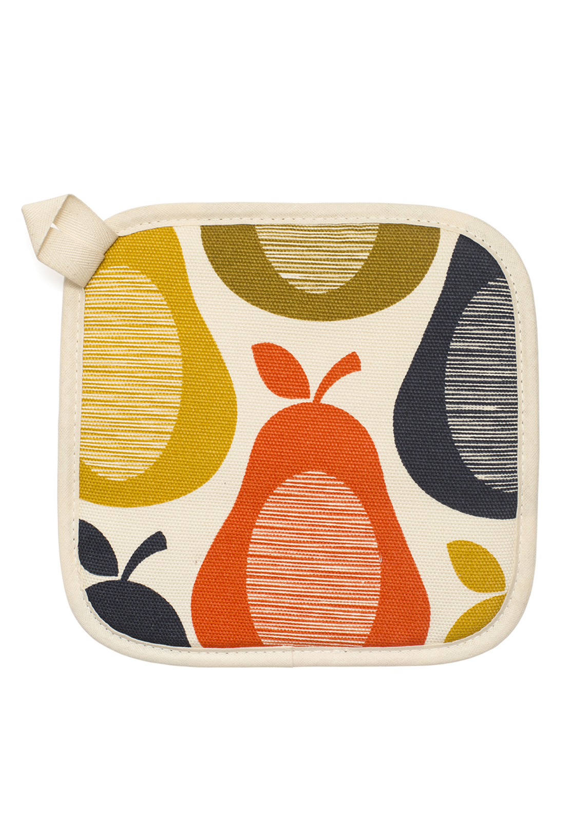 Orla Kiely Pot Grab Oven Mitt Pear Design, Cream Multi