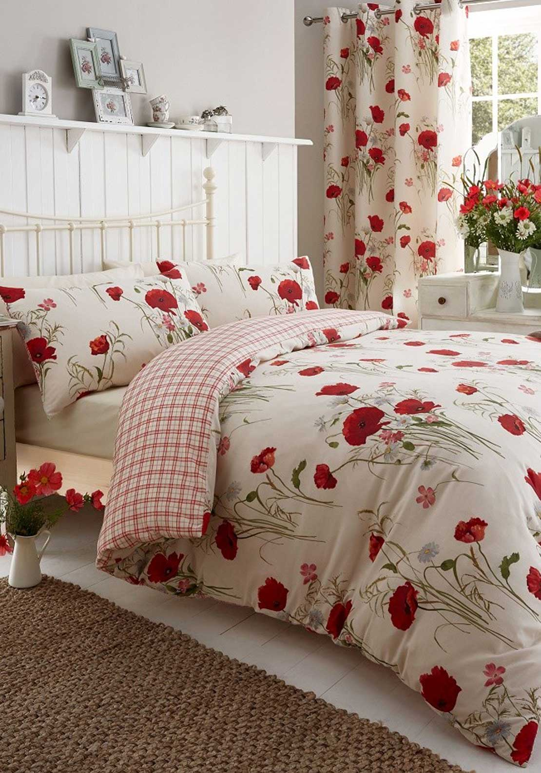 Catherine Lansfield Wild Poppies Fully Lined Ready Made Eyelet Header Curtains 66x72, Cream Multi