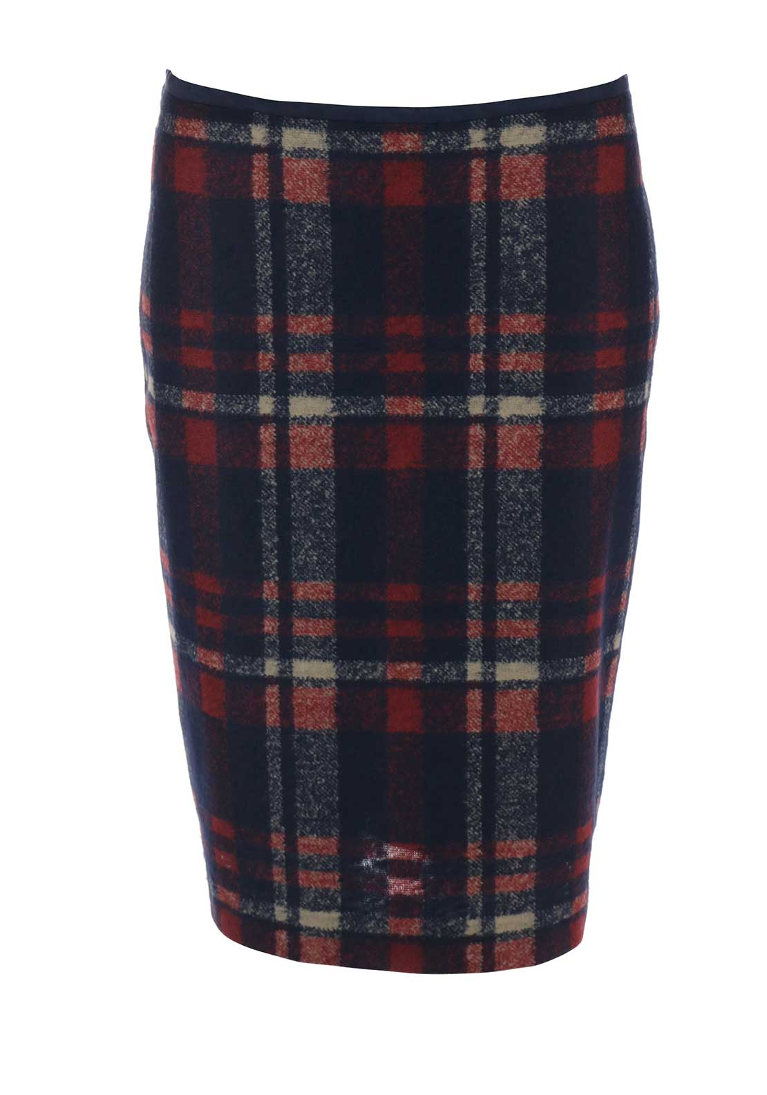 Bianca Checked Straight Skirt, Navy Multi