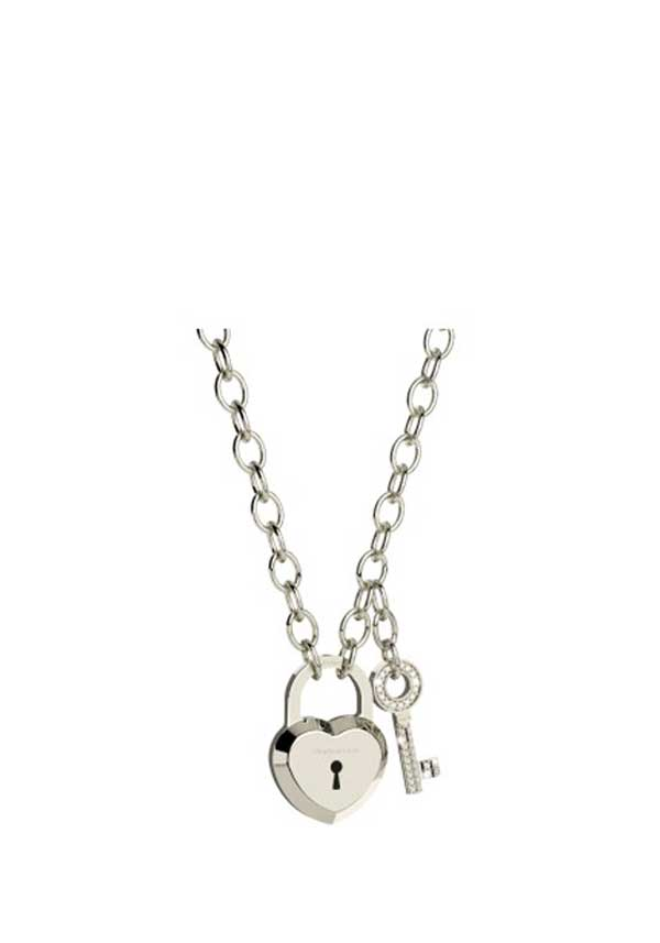 Rebecca Padlock & Key Necklace, Silver
