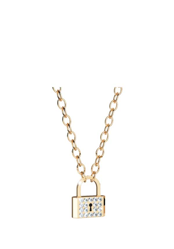 Rebecca Crystal Set Padlock Necklace, Gold