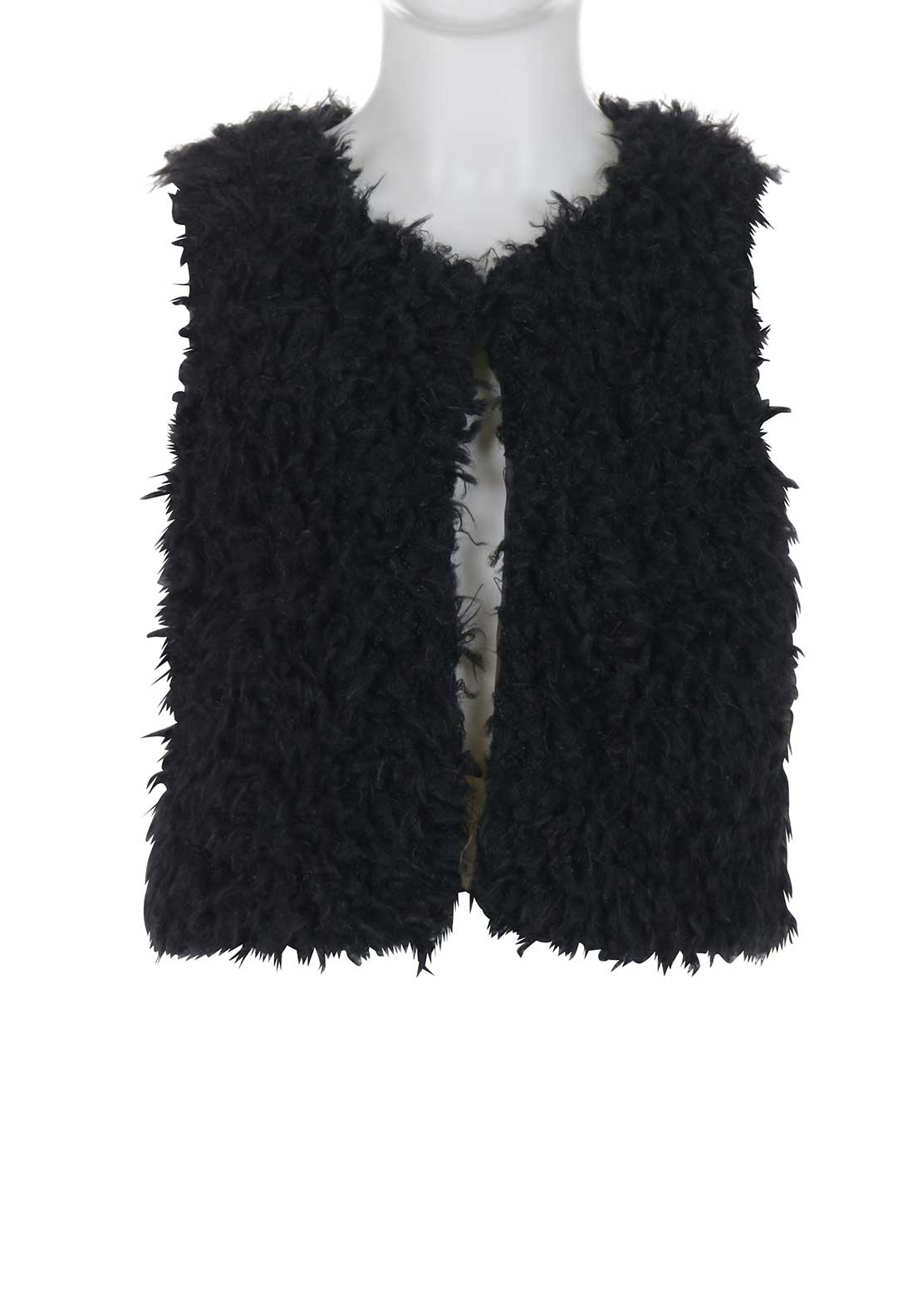 Blue Seven Faux Fur Gilet, Black
