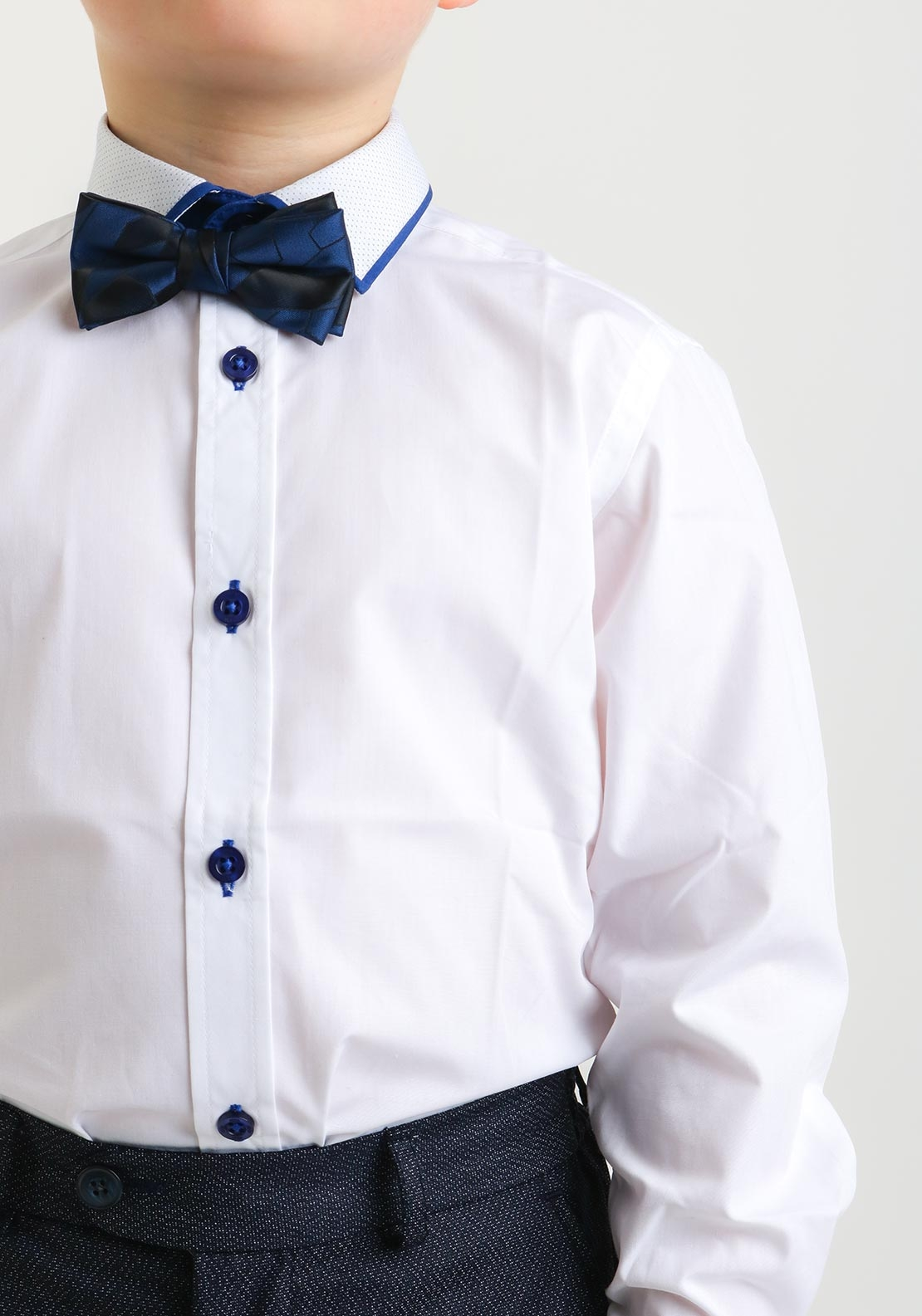 1880 Club Contrast Navy Trim Shirt and Bow Tie, White