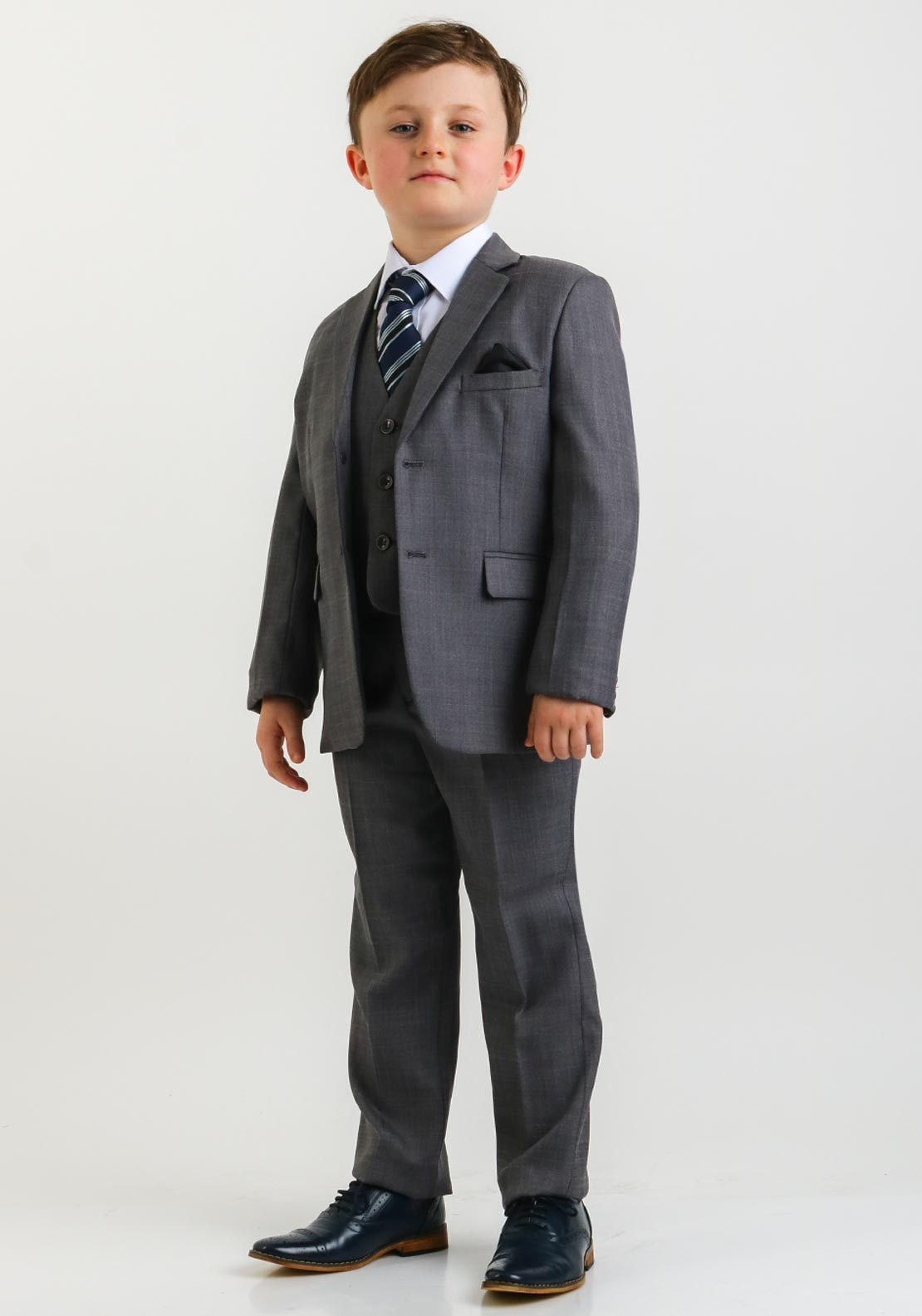 McElhinneys 3 Piece Suit with Shirt and Tie, Grey